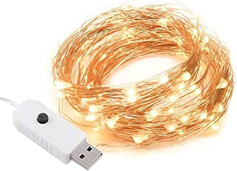 10M USB Connector 100 LEDs String Fairy Lights Copper Wire Party Home Decor aa
