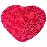Ustide Colorful Lovely Heart Love Shaped Area Rugs Anti-skid Chenille Door Mat Area Carpet for Home Bedroom 50cm60cm, Hot Pink