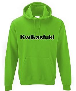 Motorholics kwikasfuki Kawasaki Parodia Sudadera con Capucha, Color Negro y Verde neón