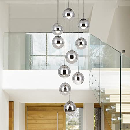 BDS lighting Lámpara de Escalera Moderna 10 Bolas de Cristal Personalidad Creativa lámpara de Sala de Estar Minimalista Larga luz Colgante, 40 * 200 cm (Color : La Plata): Amazon.es: Hogar