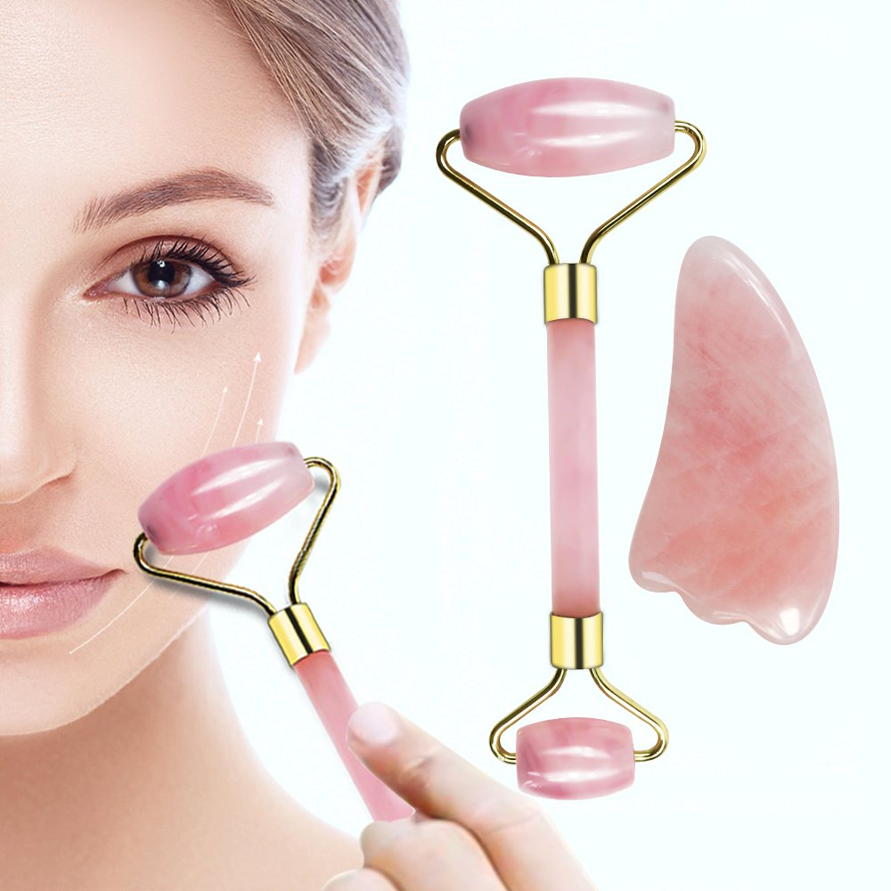 Rose Quartz Roller and Gua Sha 2 in 1 Set, 100% Natural Authentic Jade – Natural Rose Jade Facial Roller, Facial Massager for Wrinkle Removal and Anti-Aging Skin Care Kit