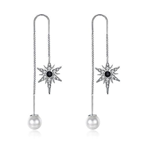 Estrellas aretes estrella perlas negro oro colores nuevo 5 cm