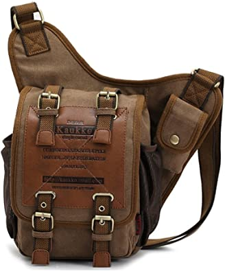 Waterproof Messenger Shoulder Military Vintage Bag Canvas Retro Rubber Satchel