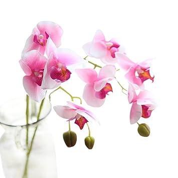 SamMoSon 2019 Flores Artificiales Decoración Jarrones para Manualidades Exterior Grandes Calas,Seda Artificial Flores Falsas Phalaenopsis Boda Ramo Fiesta ...
