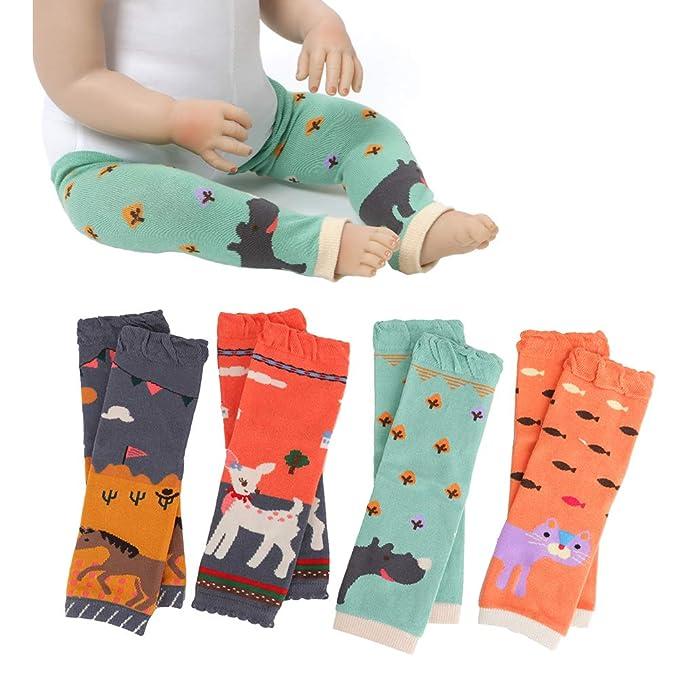 6a21b49d0b2 Ehdching 4 Pack Cartoon Animal Baby Leg Warmers Infants Toddlers Baby Boys    Girls Knee Pads