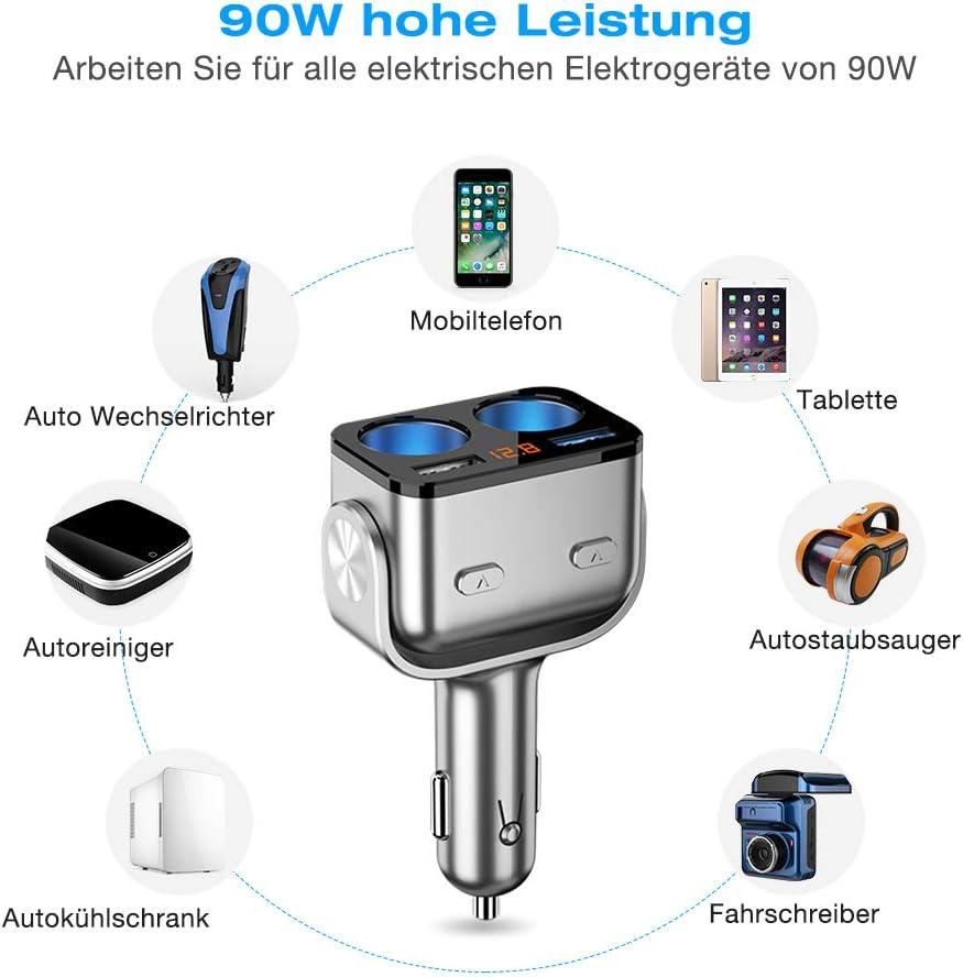 Schwarz trounistro Auto Ladeger/ät QC 3.0 Schnelllader mit 2 USB Port f/ür Handy Tablet 12V//24V Zigarettenanz/ünder Verteiler Adapter Splitter Passend f/ür Die Meisten Fahrzeuge