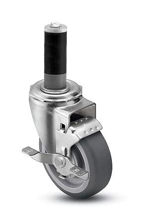 Fits 1-1//4-1-5//16 Round Tube Diameter Shepherd Institutional Series 3-1//2 Diameter Hard Rubber Wheel Swivel Caster with Tread Brake Expanding Stem 250 lbs Capacity