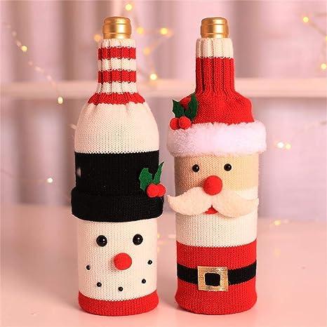 Colo-Go - Juego de 2 botellas de vino para Navidad, diseño de Papá Noel, hechas a mano, ideal para regalos de Navidad, Navidad o fiestas: Amazon.es: Hogar
