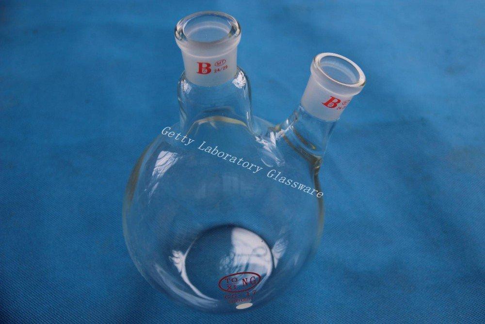 1000 ml (1L) 2-neck (two-neck) Fond Plat faites bouillir Bouteille isotherme, 24/29 Joint, lourds mur 24/29Joint Beijing Getty Laboratory Glassware Co.