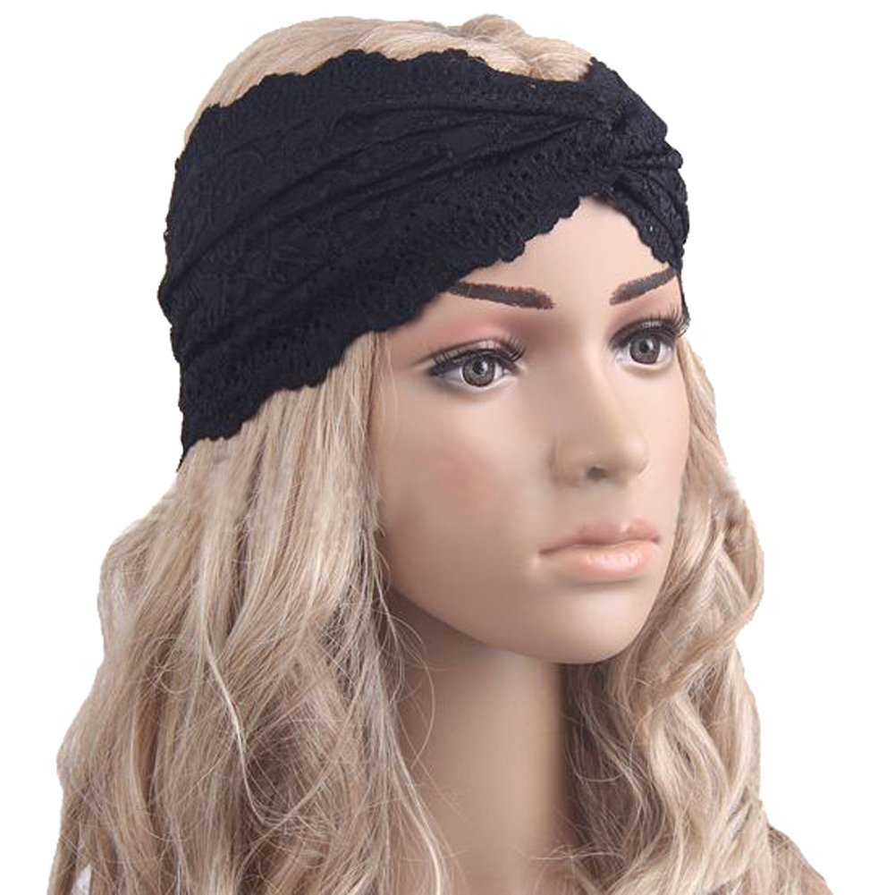 Cinta para el pelo elástica tipo turbante HugeStore para mujeres, damas, cinta de encaje trenzado, d...