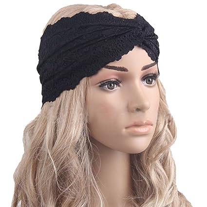 EUBUY Women Lace Headwear Turban Twist Head Wrap Headband Headscarf Twisted  Knotted Soft Hair Band Black 5a7a45d14cf
