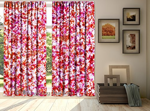 Indian Handmade Curtains Tie Dye Shibori 2 PC Waves Printed Curtain Set Valances Window Door Hanging Treatment Panel Set