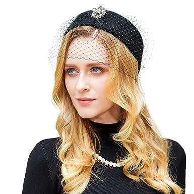 Womens Wool Pillbox Hat with Veil Vintage Fascinator Hat Ladies Formal Wedding  Hats Winter Felt Hat 58dc77092f5