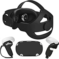 Esimen 5 in 1 Adjustable Head Strap for Oculus Quest 2 VR Shell Front Face Pad Grip Cover,Enhanced Support and Comfort…