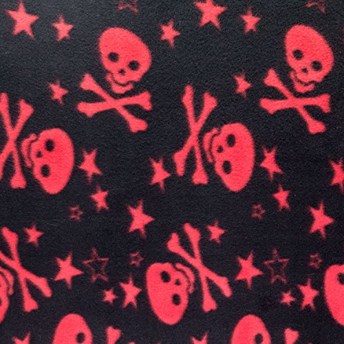 Fleece Print Skull Star Red 58 Inch Wide Fabric by the Yard (F.E.®)