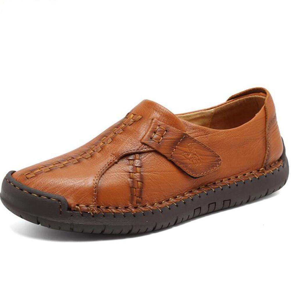 Zapatos de hombre de cuero genuino Velcro Mocasines de oficina y carrera y Slip-Ons Split Joint Outdoor Size 38To 43 , Brown , EU38 EU38|Brown