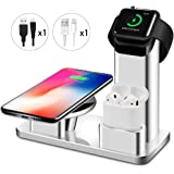 Maxdara 10W Fast Wireless Charger Stand for iPhone, Wireless Charger Stand for Apple Watch Charger&AirPods Charging Station 3 in 1 Charging Docks for Apple Watch/AirPods/iPhone X/8/8 Plus/Galaxy S9/S9Plus (Silver)