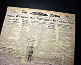 1ST U.S. ARMY Enters Germany FOR 1ST TIME Into Reich 1944 World War II Newspaper THE NEWS, Frederick, Maryland, September 13, 1944