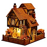 Rylai 3D Puzzles Wooden Handmade Miniature Dollhouse DIY Kit w/ Light -Flower Town Series Dollhouses accessories Dolls Houses With Furniture & LED & Music Box Best Birthday Gift for Women and Girls