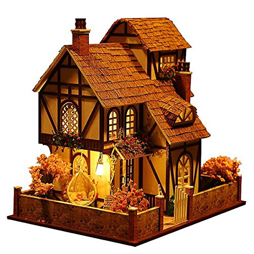 Rylai 3D Puzzles Wooden Handmade Miniature Dollhouse DIY Kit w/ Light -Flower Town Series Dollhouses Accessories Dolls Houses with Furniture & LED & Music Box Best Xmas Gift for Women and Girls