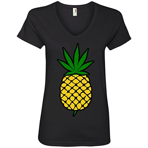 Pineapple Weed Leaf Ladies' V-Neck T-Shirt