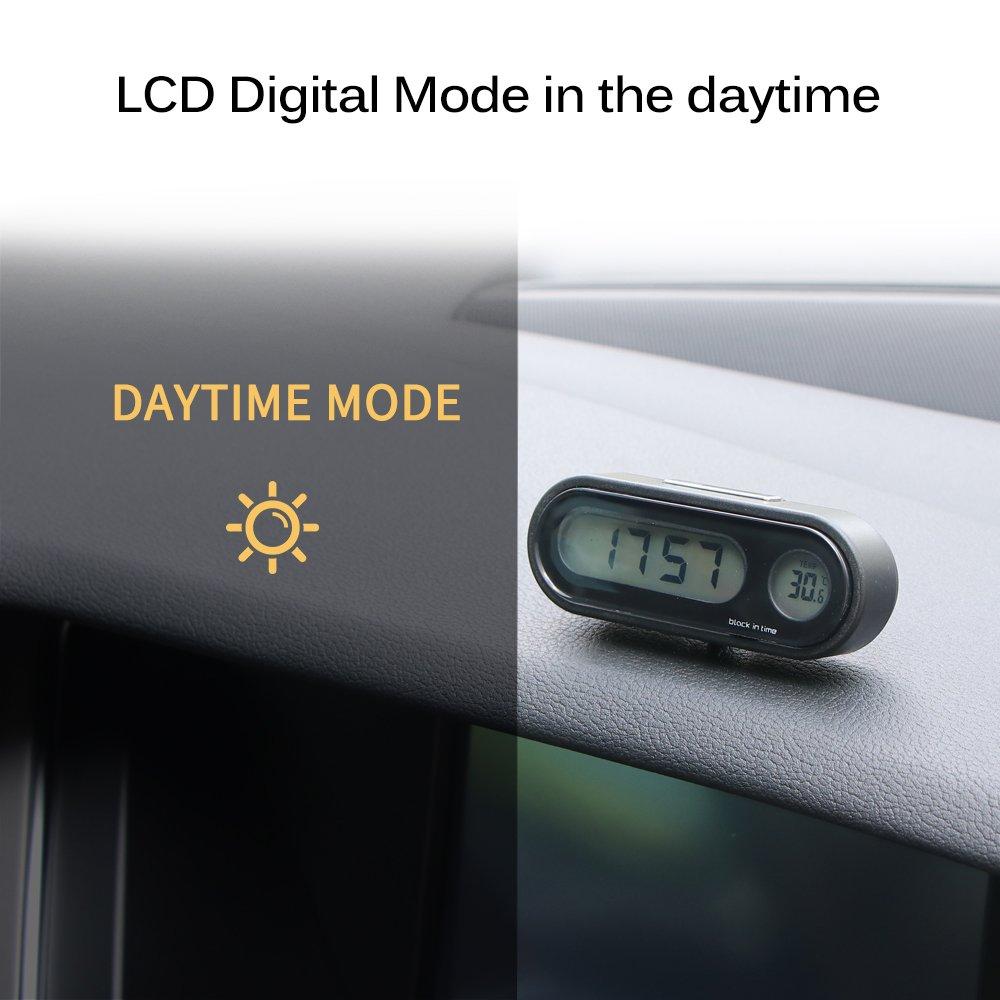 Konesky Car Clock Universal Car Dashboard Clock Air Vent Handlebar Quartz Clock Temperature Gauge Stick-On Clock with Night Display and LCD Screen