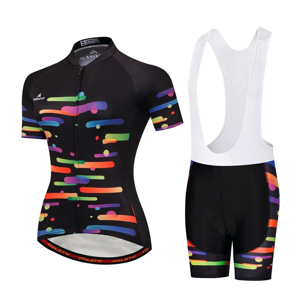 Uriah Women 's Cycling Jersey Bib Shortsホワイトセット半袖Reflective B07BJGFL8M Large|Colorful Brush Colorful Brush Large