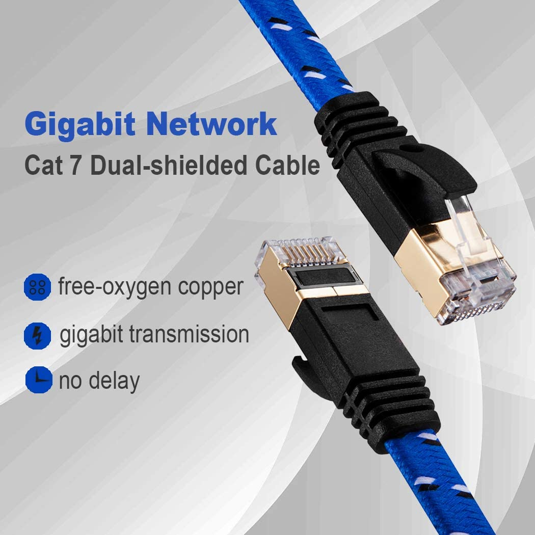 Cat 7 Ethernet Cable 10 ft,JewMod Nylon Braided Ethernet Cable Cat7 RJ45 Network Patch Cable Flat 10 Gigabit 600Mhz LAN Wire Cable Cord Shielded for Modem,Router,PC,Laptop,Switch,Xbox 360-Blue