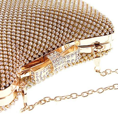 De Diamante Gold Bolso Yahuyaka Las Mujeres Manera Crossbody Banquete La Embrague Del Noche color Gold f5qwxzA56