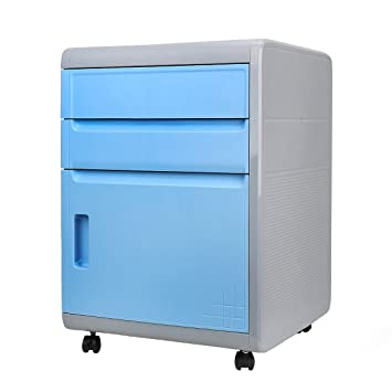 FINE DRAGON 3 Drawer Plastic Combination Lock Mobile File Cabinets Security  Night Stand/End