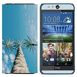 EJOOY---Cubierta de la caja de protección para la piel dura ** HTC Desire Eye M910x ** --Árboles Tres cielo azul claro