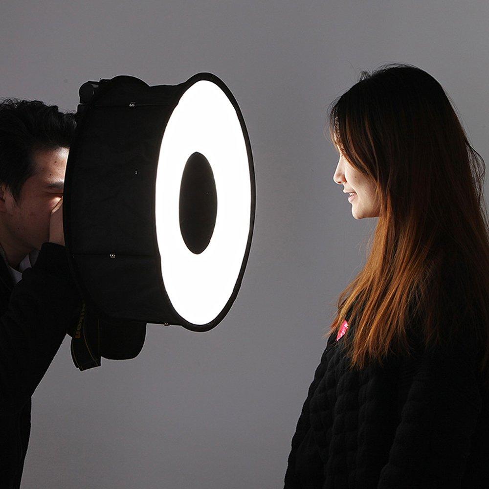 SODIAL 45cm Foldable Ring Speedlite Flash Diffuser Macro Shoot Round Softbox for Canon Nikon Sony Pentax Godox Speedlight