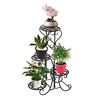 Plant Stand Metal Flower Holder Racks with 4 Tier Garden Decoration Display Wrought Iron 4 Layers Planter Rack Shelf Organizer for Indoor Outdoor, Black : Garden & Outdoor