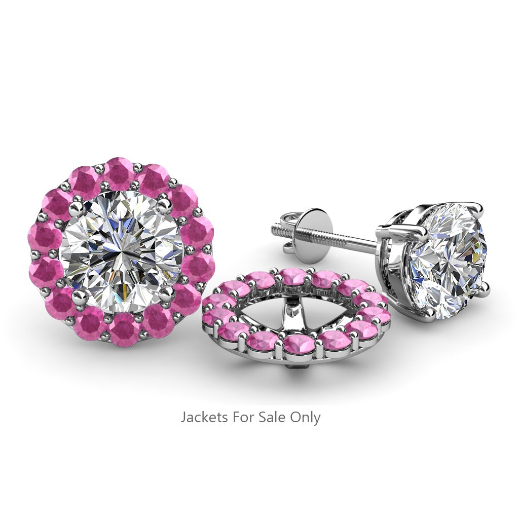 TriJewels Pink Sapphire Halo Jacket for Stud Earrings 0.88 cttw in 14K White Gold