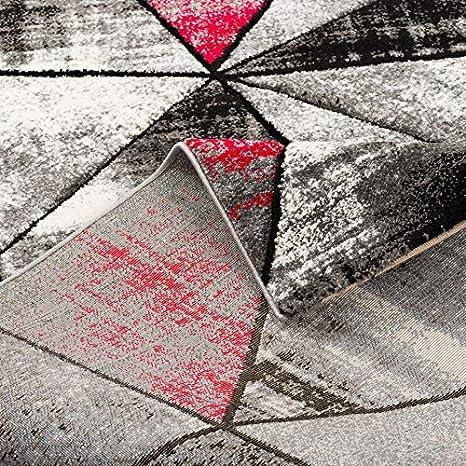 Gris Rojo Brilliant Alfombra de dise/ño Moderna Magic 5 tama/ños