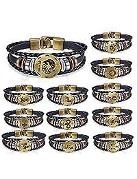 Flongo Men's Womens Vintage Braided Leather Bracelet, Zodiac Logo Wristband Constellation Cuff Bangle, 8.3 inch