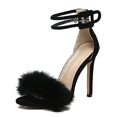 45fd037dddfc Amazon.com  Ankle Strap Fur Sandals women Fashion Leopard Thin High Heels  Women Sandals  Clothing