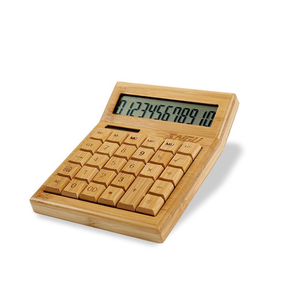 Sengu Functional Desktop Calculator Solar Power Bamboo Calculators with 12-digit Large Display by Sengu