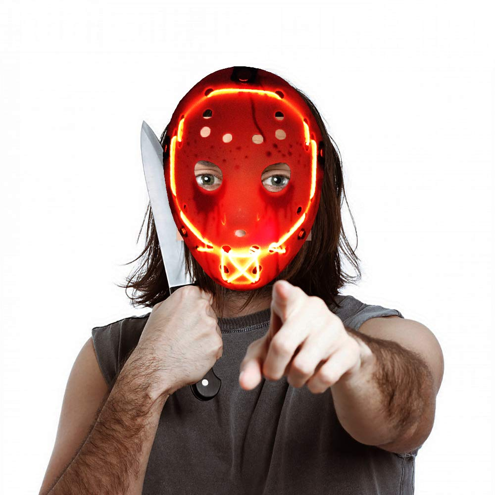 Halloween Jason.Rave Led Light Up Purge Mask Scary Halloween Mask For Adults Men Women Kids Jason Mask