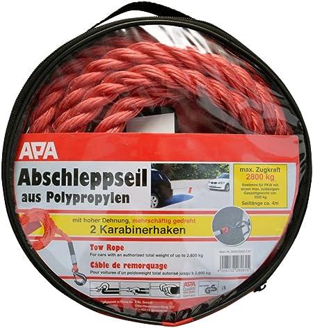 Apa 26061 Abschleppseil Max Zugkraft 2800 Kg Red Auto