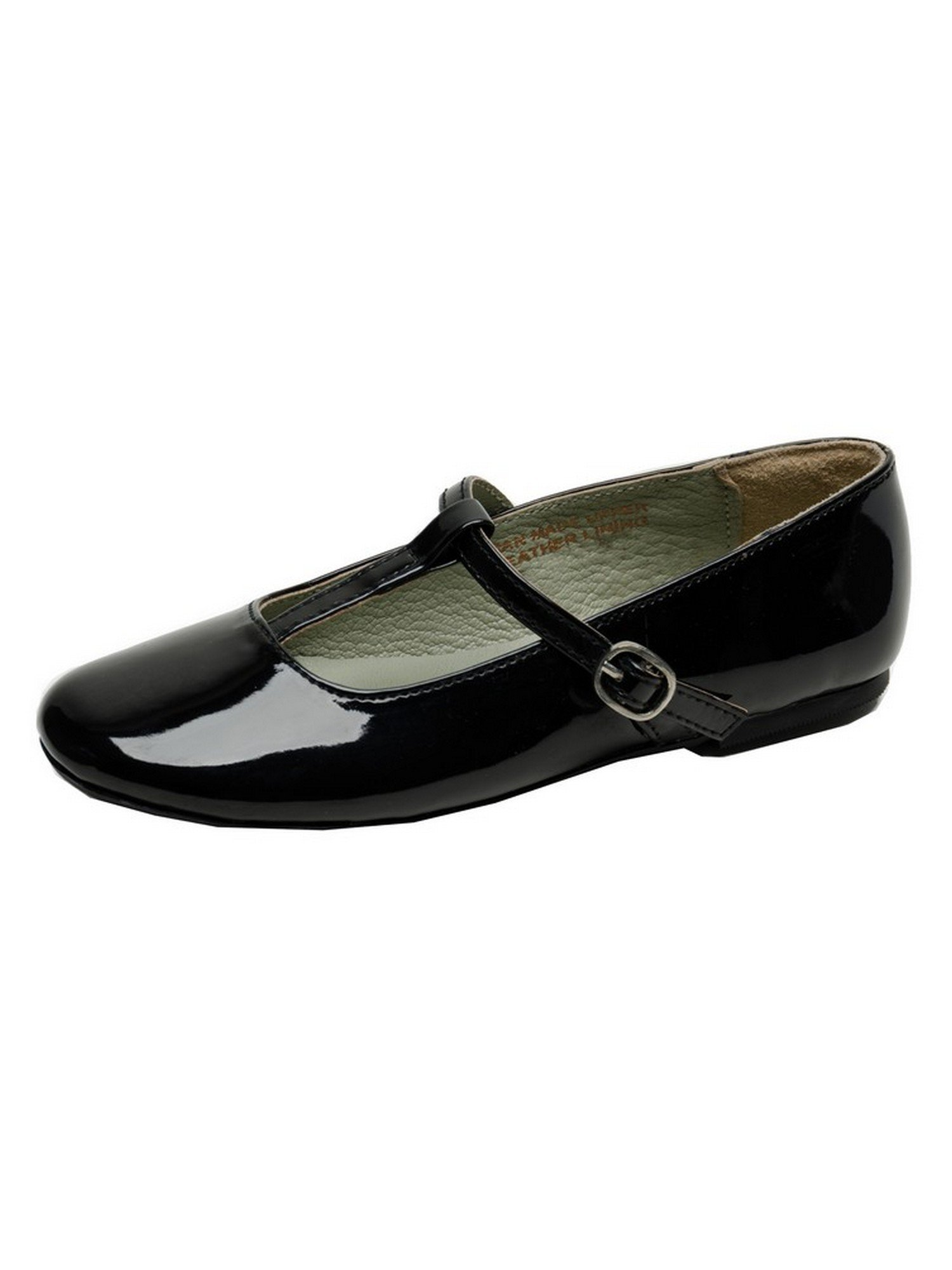 Pazitos Girls Patent Black T-Strap Buckle Casual Shoes 1 Kids
