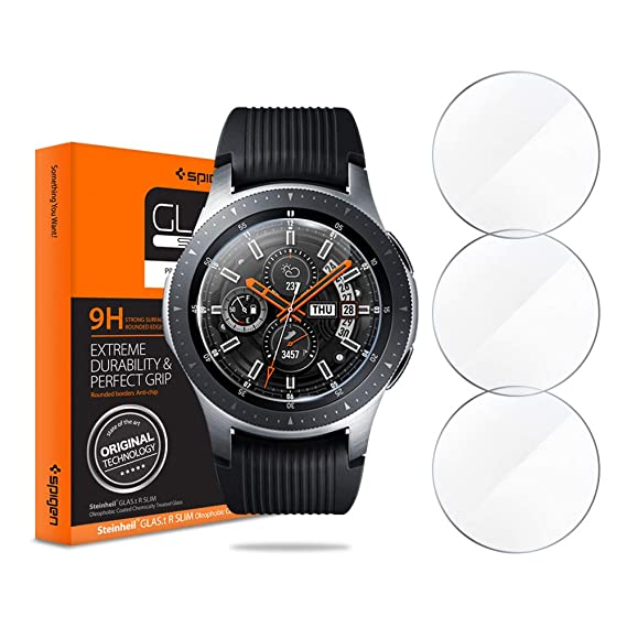 Spigen Tempered Glass Screen Protector Designed for Samsung Galaxy Watch 46mm / Gear S3 Classic/Gear S3 Frontier (3 Pack)