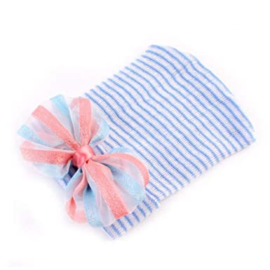 c61f2cfdbed wintefei Cute Newborn Baby Infant Girls Toddler Bow Striped Soft Hospital  Cap Beanie Hat - Blue