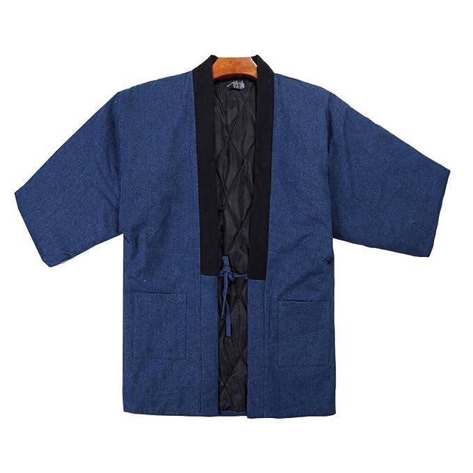 Bata de Hombre Estilo japonés Kimono Pijamas Coat-C: Amazon.es: Ropa y accesorios