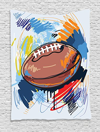 - Ambesonne Sports Decor Tapestry Wall Hanging, Diamond Shape Rugby Ball Sketch with Colorful Doodles Passing Professional Equipment League, Bedroom Living Room Dorm Decor, 60 W x 80 L Inches, Multi