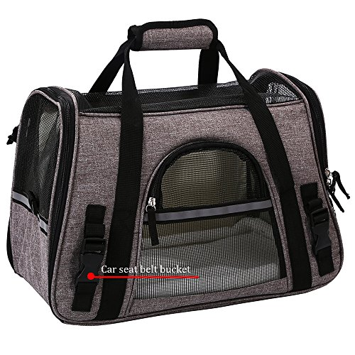 Pet Travel Carrier Airline Approved Premium Under Seat Dogs Cats - Soft Sided Pet Carrier Tote Bag Backpack Fleece Bed & Safety Lock(Grey) by okdeals (Image #4)