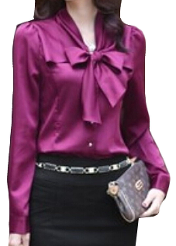 ouxiuli Women's Bow Tie Neck Long Sleeve Shirt Blouse