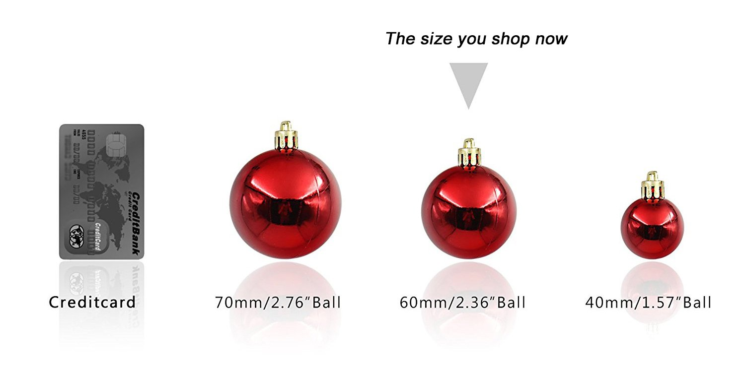 Amazon.com: Woowell 24ct Shatterproof Christmas Tree Ornaments ...