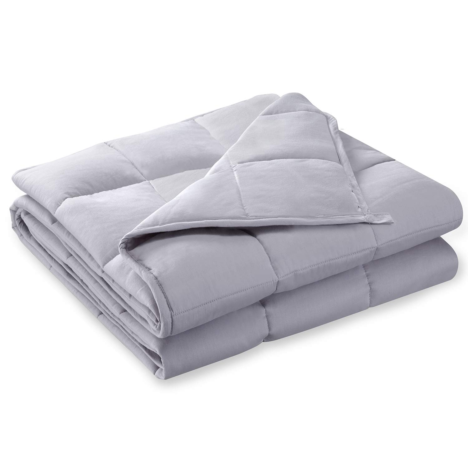BUZIO Weighted Blanket (20 lbs for 180-200 lbs Persons, Queen Size) Heavy Blanket for Adults, 60'' x 80'', Light Grey