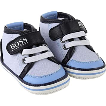 c7489ef4e39c9 Hugo Boss J99049 771 Cotton Canvas Hi Top Trainers Blue Baby Shoes   Amazon.co.uk  Baby